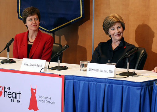 "Mrs. Laura Bush is pictured with Dr. Susan K. Bennett during a roundtable discussion about heart health issues for women Monday, May 14, 2007, for The Heart Truth campaign at The George Washington University Hospital in Washington, D.C. ""The main purpose of The Heart Truth campaign is just to let women know that heart disease is not just a man's disease,"" said Mrs. Bush during the discussion. White House photo by Shealah Craighead"