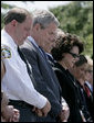 President George W. Bush bows his head during the invocation at the annual Peace Officers' Memorial Service outside the U.S. Capitol Tuesday, May 15, 2007, paying tribute to law enforcement officers who were killed in the line of duty. White House photo by Joyce Boghosian