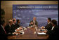 President George W. Bush participates in a roundtable discussion on comprehensive immigration reform and employment eligibility verification Wednesday, May 16, 2007, at the Embassy Suites Washington, D.C.-Convention Center.  White House photo by Joyce N. Boghosian