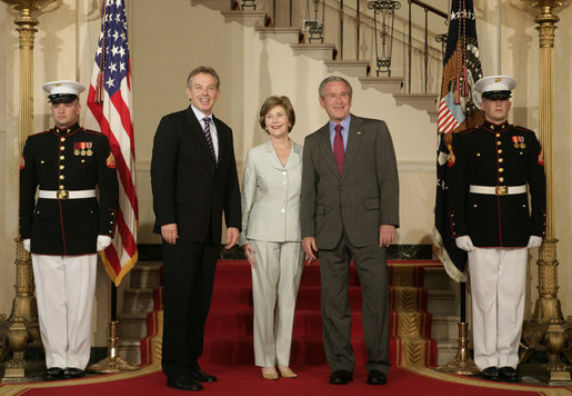 President George W. Bush and Mrs. Laura Bush welcome British Prime Minister Tony Blair to the White House Wednesday evening, May 16, 2007. President Bush will host Prime Minister Blair at a private dinner Wednesday evening, with an Oval Office meeting and joint news conference planned for Thursday at the White House. White House photo by Shealah Craighead