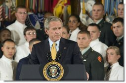 "President George W. Bush speaks during the commissioning ceremony for Joint Reserve Officer Training Corps Thursday, May 17, 2007, in the East Room. ""Over the years this room has been used for dances, concerts, weddings, funerals, award presentations, press conferences and bill signings,"" said President Bush. ""Today we add another event to the storied legacy of the East Room -- the first Joint ROTC Commissioning Ceremony.""  White House photo by Joyce N. Boghosian"