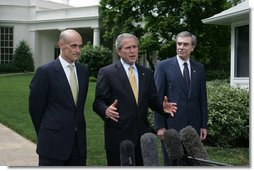 "President George W. Bush, center, joined by Homeland Security Secretary Michael Chertoff, left, and Commerce Secretary Carlos Gutierrez, right, makes a statement on immigration reform Thursday, May 17, 2007 on the South Lawn of the White House. ""I want to thank the members of the Senate who worked hard, said President Bush. ""I appreciate the leadership shown on both sides of the aisle. As I reflect upon this important accomplishment, important first step toward a comprehensive immigration bill, it reminds me of how much the Americans appreciate the fact that we can work together -- when we work together they see positive things.""  White House photo by Joyce Boghosian"
