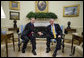 President George W. Bush and Prime Minister Tony Blair of the United Kingdom, shake hands Thursday, May 17, 2007, as they meet in the Oval Office of the White House. The visit to Washington, D.C. marked the last for the Prime Minister, who has announced he will step down in June. White House photo by Eric Draper