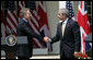 President George W. Bush and Prime Minister Tony Blair shake hands following their joint press availability Thursday, May 17, 2007, in the Rose Garden of the White House. White House photo by Eric Draper