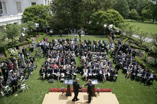 President George W. Bush and Prime Minister Tony Blair of the United Kingdom, shake hands as they end their joint press availability Thursday, May 17, 2007, in the Rose Garden of the White House. White House photo by Shealah Craighead
