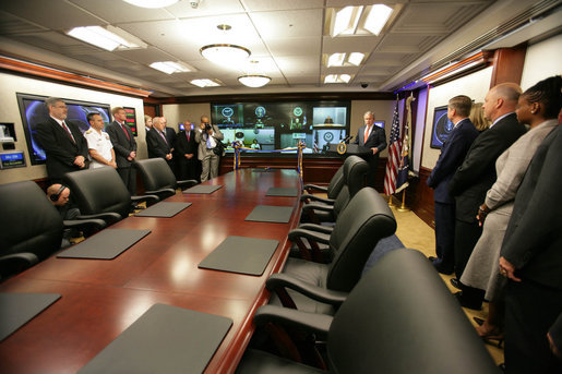 President George W. Bush delivers remarks during the ribbon-cutting ceremony for the newly renovated White House Situation Room Friday, May 18, 2007. White House photo by David Bohrer