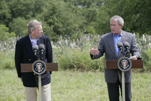 President George W. Bush gestures during a joint press availability Monday, May 21, 2007, with NATO Secretary-General Jaap de Hoop Scheffer at the Bush Ranch in Crawford, Texas. White House photo by Eric Draper