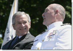President George W. Bush talks with Admiral Thad Allen, Commandant of the U.S. Coast Guard, Wednesday, May 23, 2007, at the U.S. Coast Guard Academy commencement in New London, Conn. White House photo by Joyce N. Boghosian