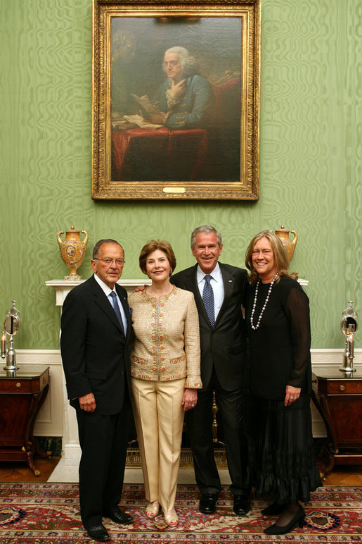 President George W. Bush and Mrs. Laura Bush welcome U.S. Senator Ted Stevens and his wife, Catherine Ann Chandler to the White House Wednesday evening, May 23, 2007, for a social dinner in honor of Senator Stevens