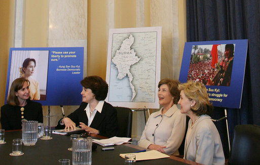 Mrs. Laura Bush meets with U.S. Senator Kay Bailey Hutchison, R-Texas, right, Sen. Dianne Feinstein, D-Calif. and Paula Dobriansky, Undersecretary of State for Democracy and Global Affairs, as Mrs. Bush attends the Senate Women's Caucus Wednesday, May 23, 2007 at the U.S. Capitol in Washington, D.C., calling for the unconditional release of Nobel laureate and Myanmar opposition leader Aung San Suu Kyi. White House photo by Shealah Craighead