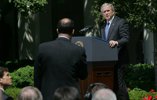 "President George W. Bush listens to a question Thursday, May 24, 2007, during a press conference in the Rose Garden. The President said, ""Today, Congress will vote on legislation that provides our troops with the funds they need. It makes clear that our Iraqi partners must demonstrate progress on security and reconciliation. As a result, we removed the arbitrary timetables for withdrawal and the restrictions on our military commanders that some in Congress have supported."" White House photo by Chris Greenburg"