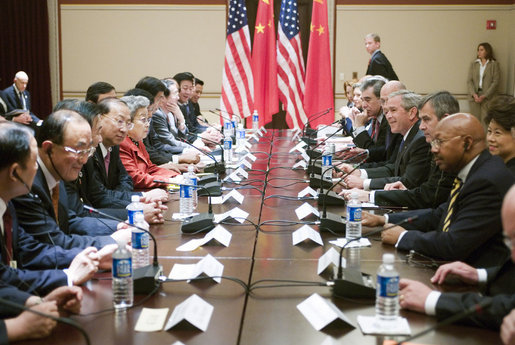 President George W. Bush sits across from Vice Premier Wu Yi of the People's Republic of China, during a meeting Thursday, May 24, 2007, with the Chinese Delegation to the Strategic Economic Dialogue at the Eisenhower Executive Office Building. White House photo by David Bohrer