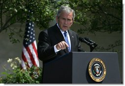 President George W. Bush emphasizes a point as he responds to a question Thursday, May 24, 2007, during a press conference in the Rose Garden of the White House.  White House photo by Joyce N. Boghosian