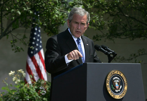 President George W. Bush emphasizes a point as he responds to a question Thursday, May 24, 2007, during a press conference in the Rose Garden of the White House. White House photo by Joyce Boghosian
