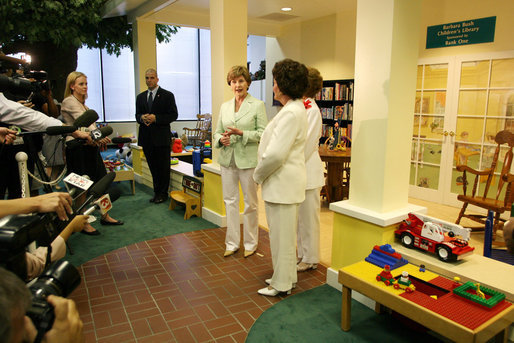 Mrs. Laura Bush speaks to the media during her visit Friday, May 25, 2007, to the Childhelp Children's Advocacy Center in Phoenix. Mrs. Bush commended the work of organizations that serve abused or neglected children, and highlighted the role that caring adults can play in preventing and reporting child abuse. White House photo by Shealah Craighead