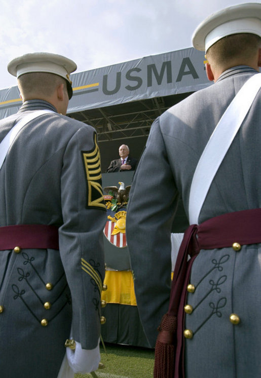 Vice President Dick Cheney stands for the playing of the national anthem Saturday, May 26, 2007, during graduation ceremonies at the U.S. Military Academy in West Point, N.Y. White House photo by David Bohrer