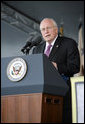 "Vice President Dick Cheney delivers the commencement address Saturday, May 26, 2007, during graduation ceremonies at the U.S. Military Academy in West Point, N.Y. The Vice President remarked, ""There's a saying here -- that 'much of the history we teach was made by the people we taught.' By training the senior leadership of the Army, this institution has been absolutely critical to fighting and winning America's wars. If there had never been a Long Gray Line, I doubt that America would still be a free nation today."" White House photo by David Bohrer"