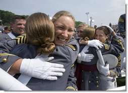 Graduates of the U.S. Military Academy Class of 2007 embrace Saturday, May 26, 2007, at the completion of commencement ceremonies in West Point, N.Y. White House photo by David Bohrer