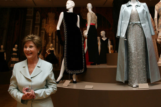 "Mrs. Laura Bush views the Balenciaga exhibit at The Meadows Museum Saturday, May 26, 2007, in Dallas. Said Mrs. Bush, ""I'm so excited to have this chance to see the Balenciaga show. I want to urge people across Texas to come to this show."" White House photo by Shealah Craighead"