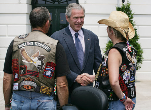 President George W. Bush welcomes members of the Rolling Thunder motorcycle organization to the White House Sunday, May 27, 2007. This Memorial Day marks Rolling Thunder's 20th year supporting U.S. troops at home, abroad and missing in action. White House photo by Joyce Boghosian
