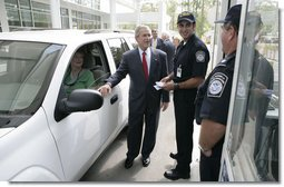 President George W. Bush stands at a simulated border crossing Tuesday, May 29, 2007, during a tour of the Federal Law Enforcement Training Center in Glynco, Ga.  White House photo by Eric Draper