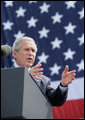 "President George W. Bush delivers remarks on comprehensive immigration reform Tuesday, May 29, 2007, during a visit to the Federal Law Enforcement Training Center in Glynco, Ga. Said the President, ""We have a mission, a vital mission, and that's to protect our country. And it gives me great confidence when I meet you to tell the American people there's a lot of decent souls doing everything they can to provide security for the American people. So, thanks."" White House photo by Eric Draper"