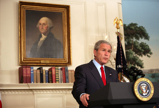"President George W. Bush delivers a statement on Darfur Tuesday, May 29, 2007, in the Diplomatic Reception Room of the White House. Said the President, "" The people of Darfur are crying out for help. I urge the United Nations Security Council, the African Union, and all members of the international community to reject any efforts to obstruct implementation of the agreements that would bring peace to Darfur and Sudan."" White House photo by David Bohrer"