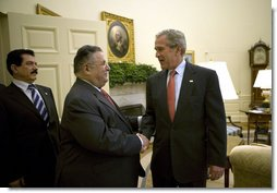 President George W. Bush welcomes President Jalal Talabani of Iraq to the Oval Office Thursday, May 31, 2007. White House photo by Eric Draper