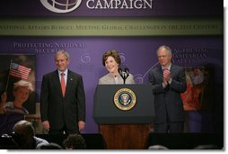 "Mrs. Laura Bush delivers remarks about the United States International Development Agenda Thursday, May 31, 2007, at the Ronald Reagan Building and International Center in Washington, D.C. ""The eagerness of children to learn, the desire of individuals to provide for themselves and their families, and the longing of mothers to see their babies grow up healthy are universal,"" said Mrs. Bush. White House photo by Chris Greenberg"