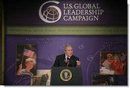 "President George W. Bush addresses the United States Global Leadership Campaign Thursday, May 31, 2007, at the Ronald Reagan Building and International Center in Washington, D.C. ""This is a fine organization and it's an important organization,"" said President Bush. ""It's rallying businesses and non-governmental organizations and faith-based and community and civic organizations across our country to advance a noble cause, ensuring that the United States leads the world in spreading hope and opportunity."" White House photo by Chris Greenberg"