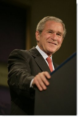 "President George W. Bush delivers remarks on the United States International Development Agenda Thursday, May 31, 2007, at the Ronald Reagan Building and International Center in Washington, D.C. ""We're blessed to live in the world's most prosperous nation,"" said the President. ""And I believe we have a special responsibility to help those who are not as blessed. It is the call to share our prosperity with others, and to reach out to brothers and sisters in need.""  White House photo by Shealah Craighead"