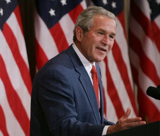 "President George W. Bush gestures as he addresses a briefing on comprehensive immigration reform at the Eisenhower Executive Office Building Friday, June 1, 2007, in Washington, D.C., saying ""I strongly believe it's in this nation's interest for people here in Washington to show courage and resolve and pass comprehensive immigration reform."" White House photo by Chris Greenberg"