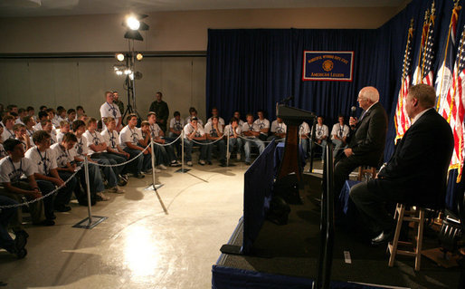 Vice President Dick Cheney answers a question from a student during the Wyoming Boys' State Conference, Sunday, June 3, 2007, in Douglas, Wyo. The Vice President spoke about Iraq, domestic issues and his experience as a Wyoming Boys' State participant in 1958. White House photo by David Bohrer