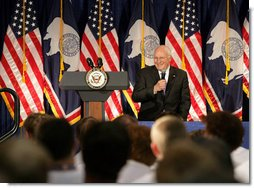 Vice President Dick Cheney addresses high school students learning about government and the political process at the Wyoming Boys' State Conference, Sunday, June 3, 2007, in Douglas, Wyo.  White House photo by David Bohrer