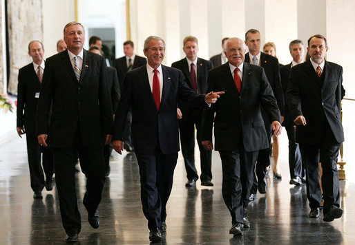 "President George W. Bush walks with Czech Republic Prime Minister Mirek Topolanek, right, and President Vaclav Klaus Tuesday, June 5, 2007, during a visit to Prague Castle in Prague, Czech Republic. ""It is fitting that we meet in the Czech Republic -- a nation at the heart of Europe, and of the struggle for freedom on this continent,"" said President Bush in his remarks. ""Nine decades ago, Tomas Masaryk proclaimed Czechoslovakia's independence based on the 'ideals of modern democracy'."" White House photo by Eric Draper"