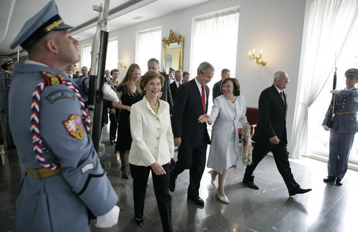 President George W. Bush and Mrs. Laura Bush walk with President Vaclav Klaus and his wife Livia Klausova during their visit to Prague Castle Tuesday, June 5, 2007. White House photo by Eric Draper