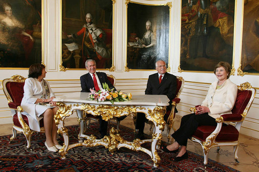 President George W. Bush and Mrs. Laura Bush meet with Czech Republic President Vaclav Klaus and his wife Livia Klausova in the Hapsburg Salon of Prague Castle Tuesday, June 5, 2007. White House photo by Shealah Craighead