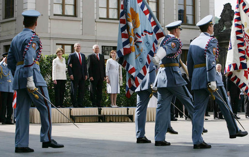 President George W. Bush and Mrs. Laura Bush join Czech President Vaclav Klaus and his wife, Livia Klausova, during a welcoming ceremony at Prague Castle in the Czech Republic Tuesday, June 5, 2007. White House photo by Chris Greenberg