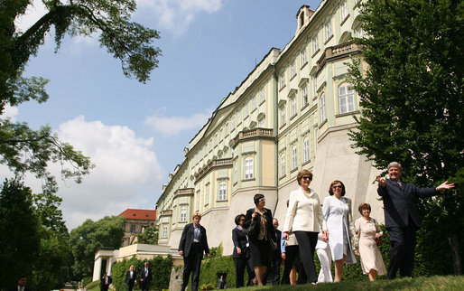 Mrs. Laura Bush and Mrs. Livia Klausova, First Lady of Czech Republic, tour the gardens of Prague Castle Tuesday, June 5, 2007, at Prague Castle in Prague, Czech Republic. White House photo by Shealah Craighead