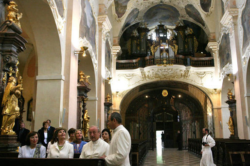 Mrs. Laura Bush and Mrs. Livia Klausova, First Lady of Czech Republic, visit Strahov Church Tuesday, June 5, 2007, in Prague, Czech Republic. More than 800 years old, it is home to a library, gallery of art and monastery. White House photo by Shealah Craighead