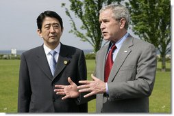 President George W. Bush meets with Prime MInister Shinzo Abe of Japan at the Kempinski Grand Hotel Wednesday, June 6, 2007, in Heiligendamm, Germany. The two leaders discussed a number of topics that included North Korea, energy and climate change.  White House photo by Eric Draper