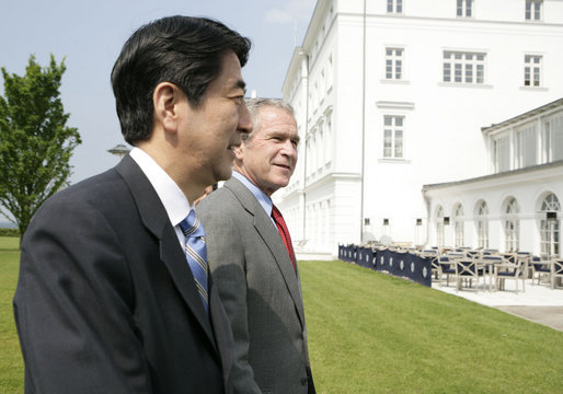 President George W.Bush and Prime Minister Shinzo Abe of Japan conclude their remarks after a brief afternoon meeting Wednesday, June 7, 2007, at the Kempinski Grand Hotel in Heiligendamm, Germany, site of the G8 Summit. White House photo by Eric Draper