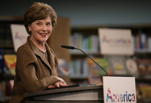 "Mrs. Laura Bush delivers remarks Wednesday, June 6, 2007, at the Schwerin City Library in Schwerin, Germany. Said Mrs.Bush, ""Our countries -- the United States and Germany -- are friends today because we both treasure freedom and we share a deep love of learning. I hope that new ties of friendship will form between Germany and the United States as a result of America@Your Library."" White House photo by Shealah Craighead"