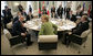 President George W. Bush sits with Chancellor Angela Merkel Thursday, June 7, 2007, prior to the start of the afternoon G8 working session in the G8 Conference Hall at Kempinski Grand Hotel in Heiligendamm, Germany. White House photo by Eric Draper