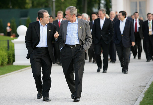 President George W. Bush walks with Prime Minister Romano Prodi of Italy, after dinner Thursday evening, June 7, 2007, for the G8 leaders at the Kempinski Grand Hotel in Heiligendamm, Germany. White House photo by Eric Draper