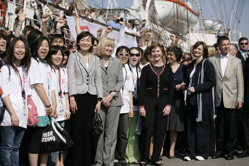 Mrs. Laura Bush joins the G8 spouses at Old Lumber Port in Wismar, Germany, as they meet for a group photo with Junior 8 Student Leaders. White House photo by Shealah Craighead