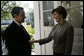 Mrs. Laura Bush welcomes President Nicolas Sarkozy to the President's private quarters at Kempinski Grand Hotel Friday, June 8, 2007, in Heiligendamm, Germany, where the two leaders discussed issues regarding bilateral relations between the U.S. and France, as well as with the U.S. and Europe. White House photo by Eric Draper