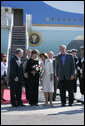 President George W. Bush and Mrs. Laura Bush are greeted by Poland's President Lech Kaczynski and Mrs. Maria Kaczynska at the Gdansk Lech Walesa International Airport Friday, June 8, 2007, in Gdansk. White House photo by Chris Greenberg