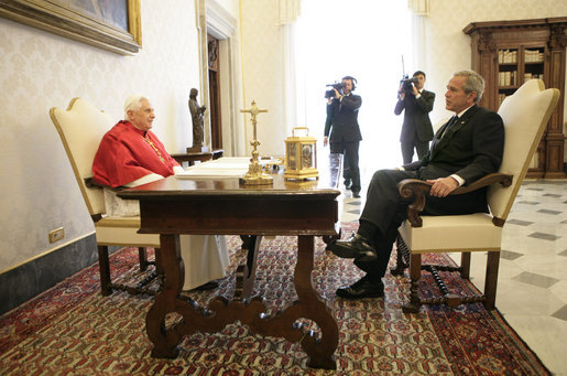 President George W. Bush meets with Pope Benedict XVI at the Vatican Saturday, June 9, 2007. The two leaders met for privately 35 minutes. White House photo by Eric Draper