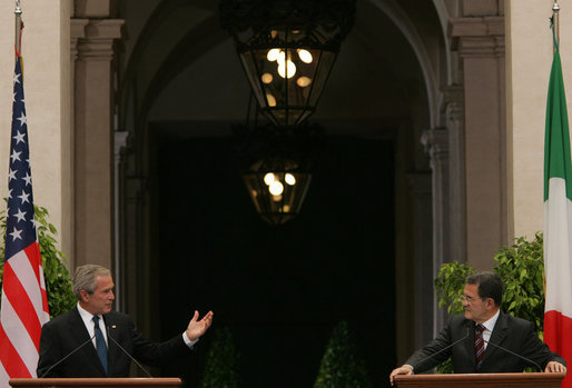 President George W. Bush responds to a reporter's question Saturday, June 9, 2007, during a joint statement with Prime Minister Romano Prodi at his Chigi Palace in Rome. White House photo by Chris Greenberg